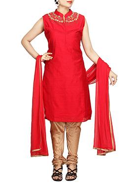 Red Chanderi Pure Silk Cotton Churidar Suit