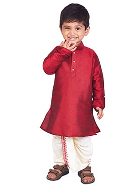 Red Pure Silk Kids Dhoti Kurta
