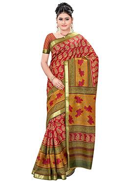 Red Pure Silk Printed Foliage Designed Saree