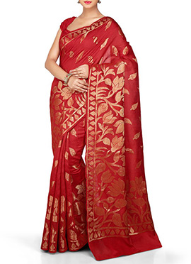 Red Pure Silk Saree