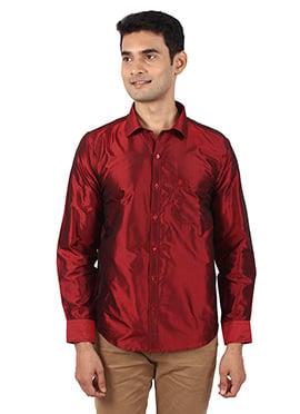Red Pure Silk Shirt