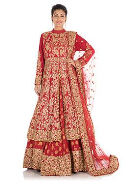 Red Pure Silk Umbrella Lehenga