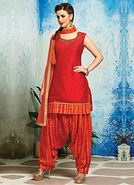 Red Raw Silk Patiala Suit