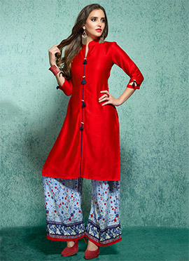 Red Rayon Cotton Linen Palazzo Suit