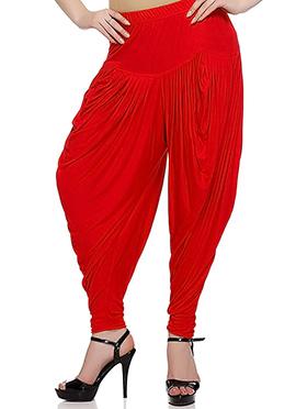 Red Rayon Dhoti Pant