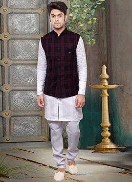 Maroon Rayon Nehru Jacket