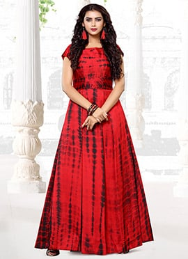 Red Satin Blend Anarkali Gown