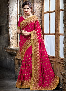 Pink Satin Blend Saree