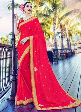 Pink Satin Chiffon Saree