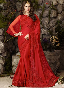 Red Satin Chiffon Saree