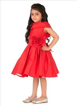 Red Satin Kidology Indowestern Dress