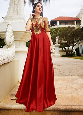 Red Satin Silk Anarkali Gown