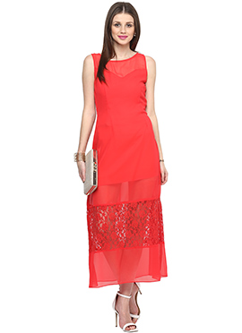 Red Shakumbhari Georgette Maxi Dress