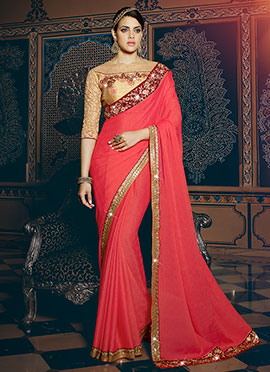 Red Shimmer Chiffon Border Saree