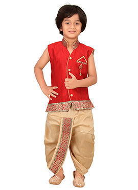 Red Silk Blend Boys Dhoti Kurta