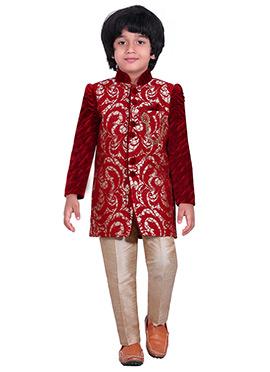 Red Silk Blend Kids Sherwani