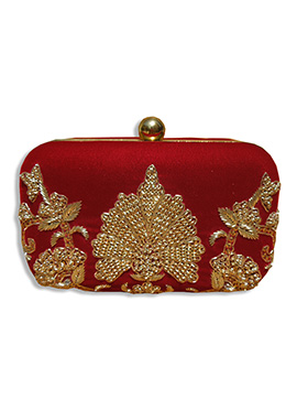 Maroon Silk Box Clutch