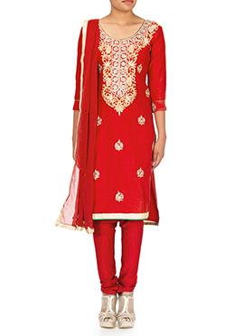 Red Silk Cotton Churidar Suit