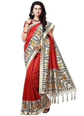 Red Silk Printed Saree