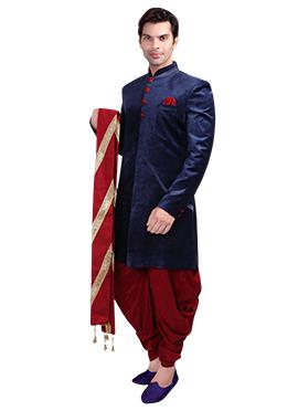 Red Silk Zari Embroidered Stole