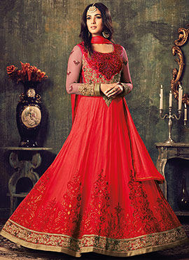 Red Soft net Abaya Style Anarkali Suit
