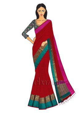Red Spun Silk Saree N Aqua Green Blouse