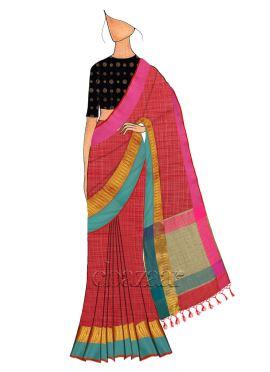 Red Spun Silk Saree N Black Blouse
