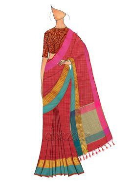 Red Spun Silk Saree N Red N Gold Blouse