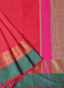 Red Spun Silk Saree