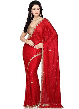 Red Stone Enhanced Saree
