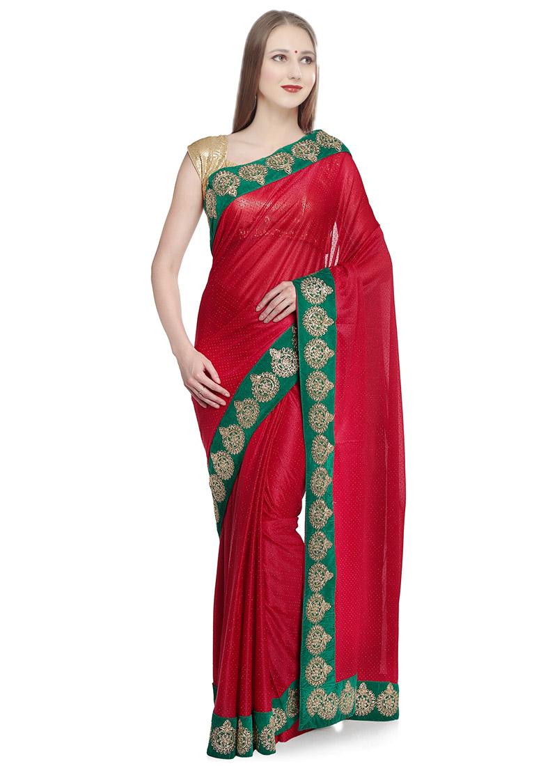1b264e04d0 Buy Red Stone Work Embroidered Saree, Stones , Mirror work ...