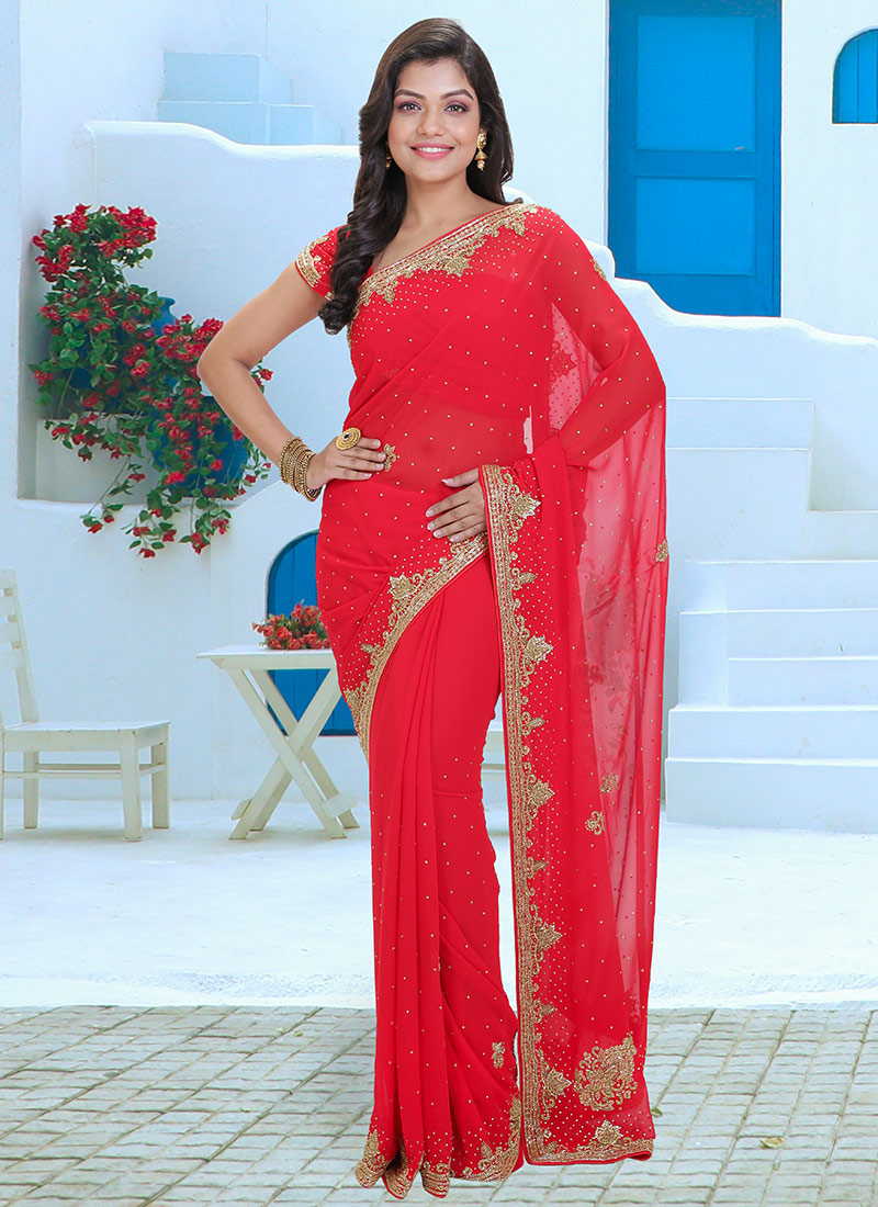 d26d56f7ab Buy Red Stone Work Saree, Sequins , Stones, sari Online Shopping ...