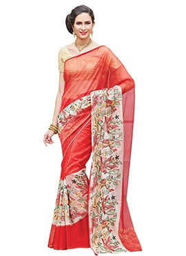 Red Supernet Bird Style Embroidered Saree