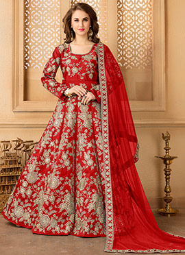 Red Taffeta Silk Abaya Style Anarkali Suit