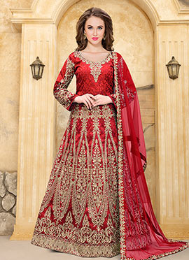 Red Taffeta Silk Abaya Style Anarkali Suit