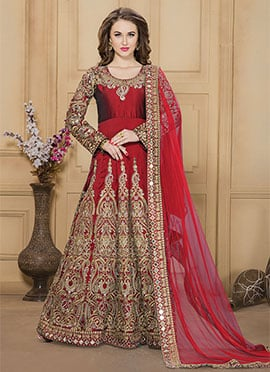 Red Taffeta Silk Anarkali Suit