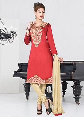 Red Taffeta Silk Churidar Suit