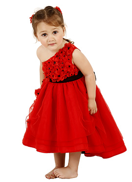 Red Taffeta Silk Net Kids Dress