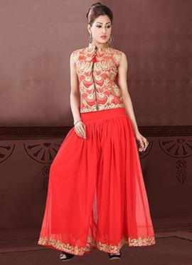 Red Taffeta Silk Palazzo Suit
