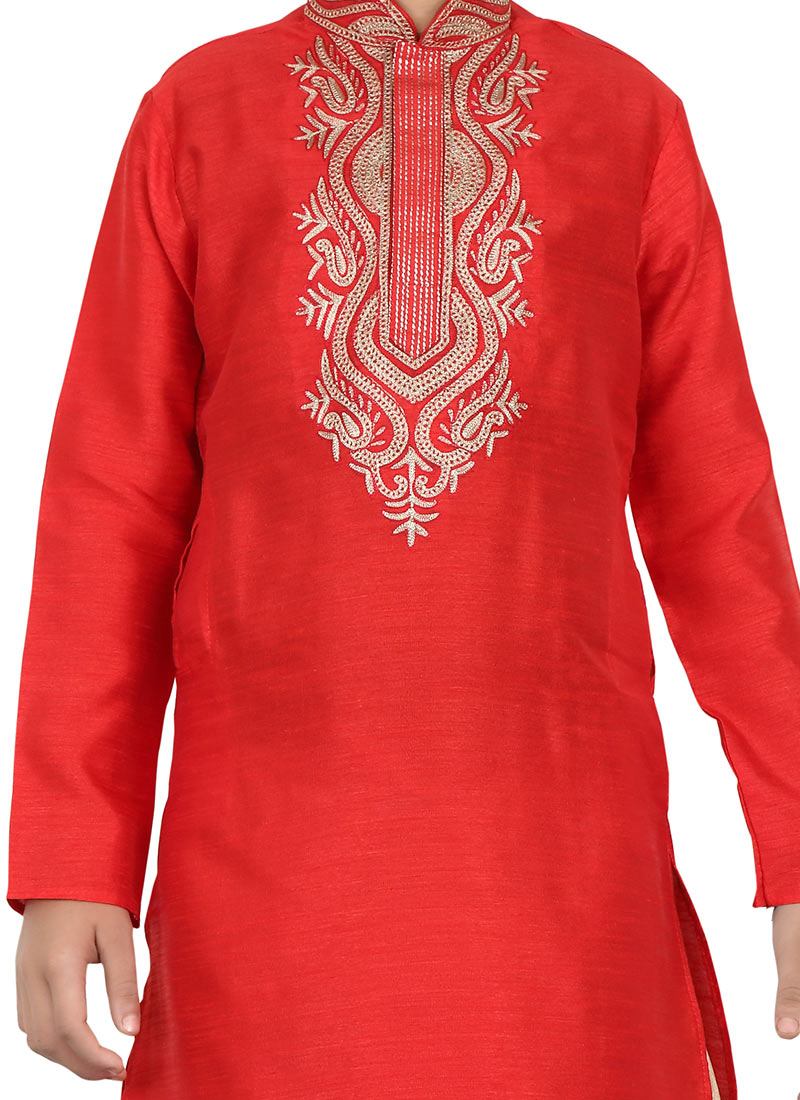 Buy Red Teens Dhoti Kurta Embroidered Teens Dhoti Kurta