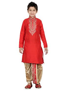 Red Teens Dhoti Kurta