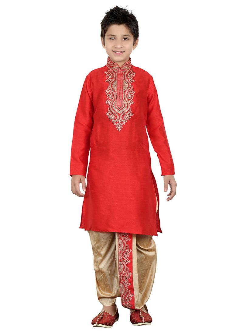 Buy Red Teens Dhoti Kurta Embroidered Teens Dhoti Kurta