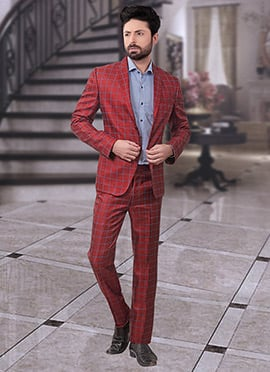 Red Terry Rayon Lapel Suit