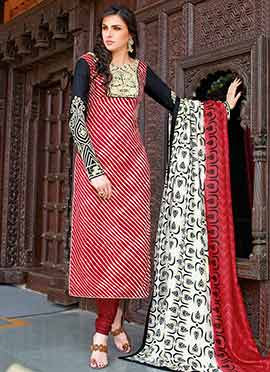 Red Tussar Silk Straight Suit