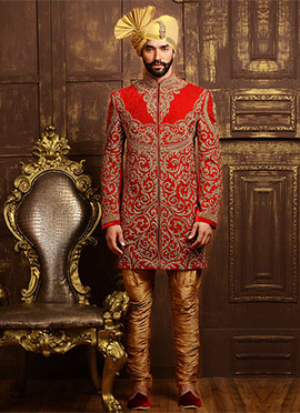 Red Velvet Breeches Style Chipkan Sherwani