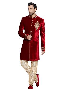 Red N Beige Velvet Breeches Style Sherwani