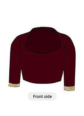 Red Velvet Closed Collar Blouse
