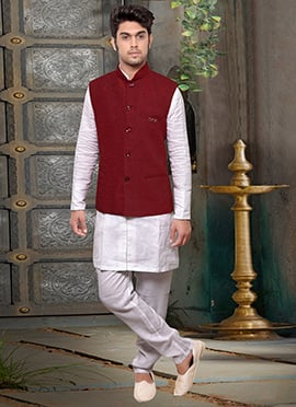 Red Velvet Nehru Jacket