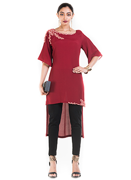 Red Wine Crepe Tunic