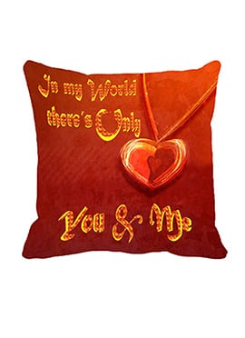 Red You N Me Polyester Cushion Cover